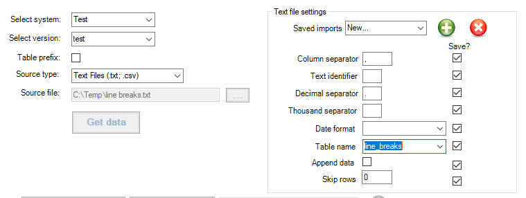 SQL database import errors: line breaks - SQL DataTool